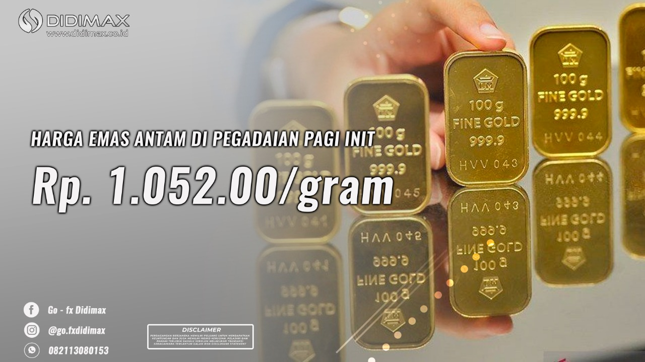 Harga emas Antam di Pegadaian pagi ini Rp 1.052.000 per gram (31 Agustus 2020)
